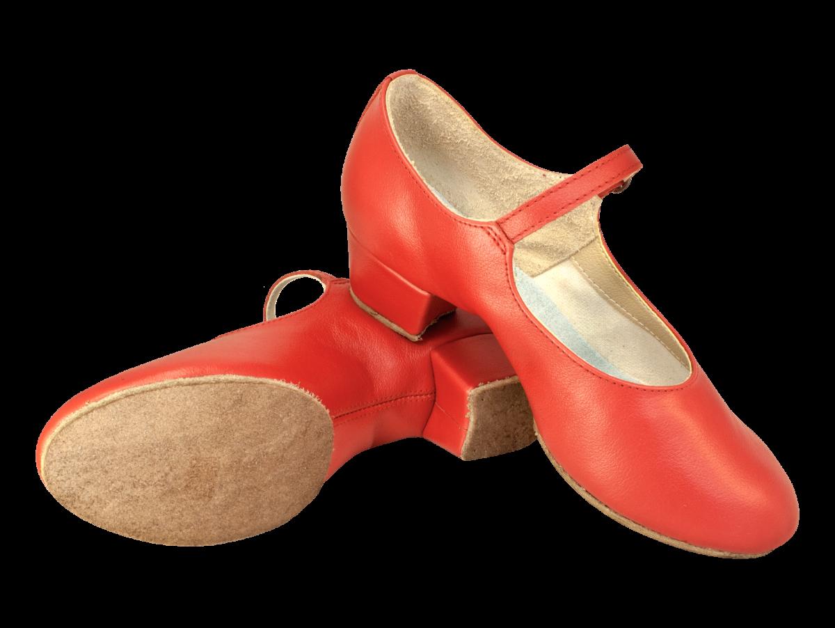 Туфли женские НАРОДНЫЕ, раздельная подошва, красный цвет, каблук 3,5 см.