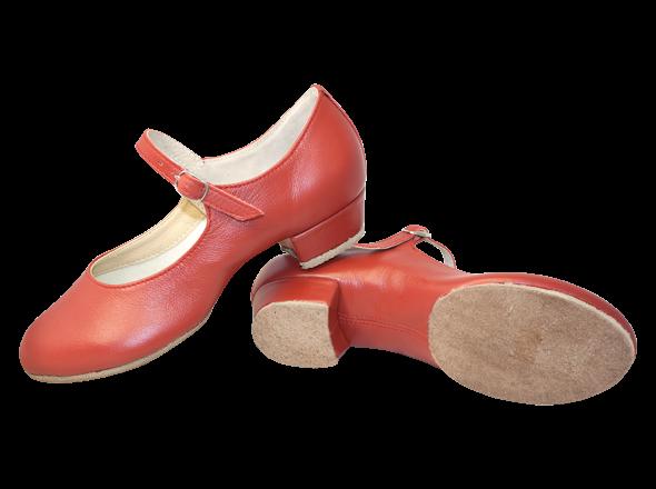 Туфли женские НАРОДНЫЕ, раздельная подошва, красный цвет, каблук 2 см.