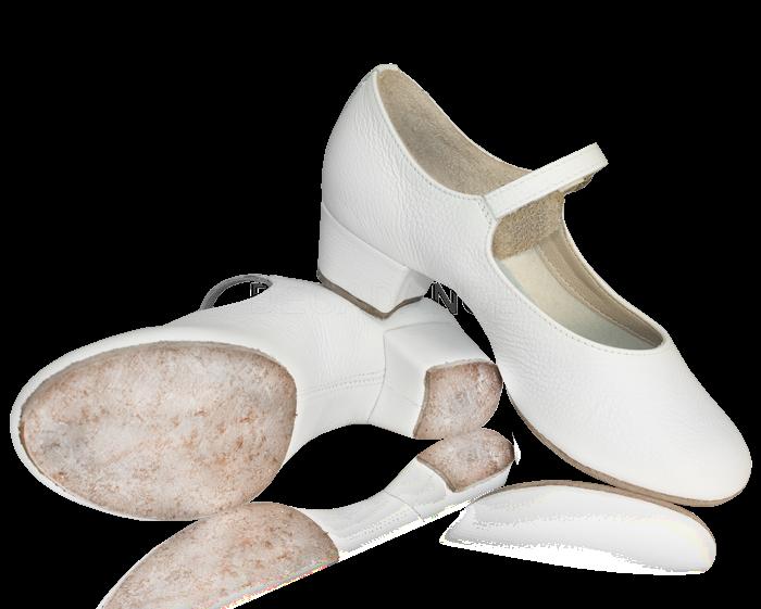 Туфли женские НАРОДНЫЕ, раздельная подошва, белый цвет, каблук 3,5 см.